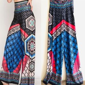 Flying Tomato multicolored palazzo Pants Med NWOT